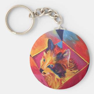 Pop Art Cat in a Box Keychain