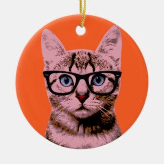 Pop Art Cat Round Ceramic Ornament