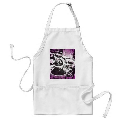 Pop Art Coffee Mugs Watercolor Print in Purple Apron
