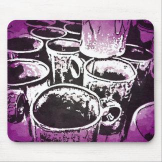 Pop Art Coffee Mugs Watercolor Print in Purple Mouse Pad