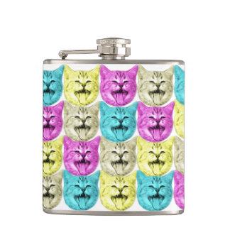 pop art color cat flask