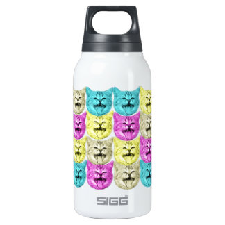 pop art color cat insulated water bottle