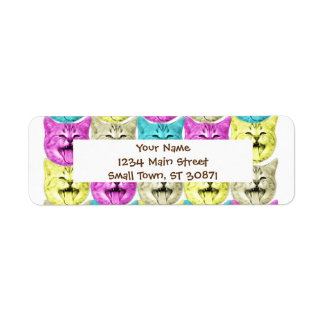 pop art color cat return address label