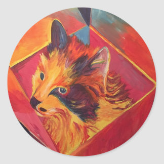 POP ART COLORFUL CAT CLASSIC ROUND STICKER