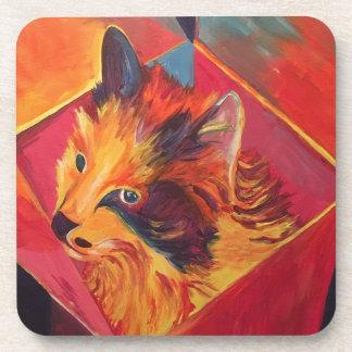 POP ART COLORFUL CAT COASTER