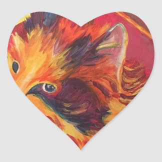 POP ART COLORFUL CAT HEART STICKER