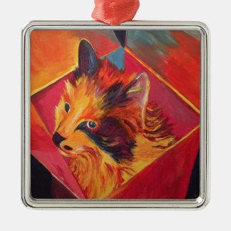 POP ART COLORFUL CAT METAL ORNAMENT