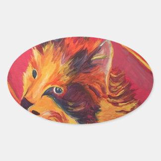 POP ART COLORFUL CAT OVAL STICKER