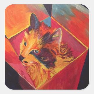 POP ART COLORFUL CAT SQUARE STICKER