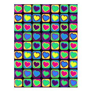 Pop art colorful hearts postcard