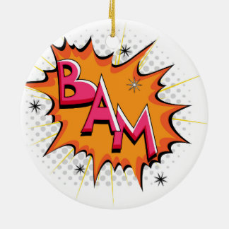 Pop Art Comic Bam! Round Ceramic Ornament