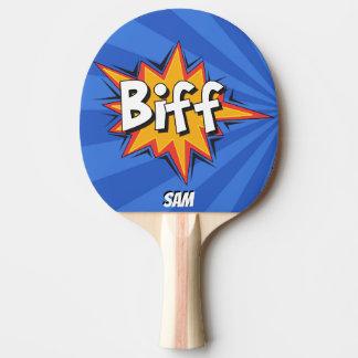 Pop Art Comic Style Superhero Biff! Personalized Ping Pong Paddle
