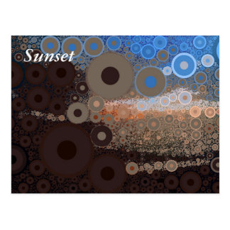 Pop Art Concentric Circles Blue Sunset Postcard