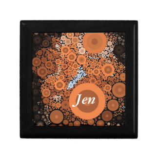 Pop Art Concentric Circles Floral Orange Box