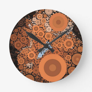 Pop Art Concentric Circles Floral Orange Clock