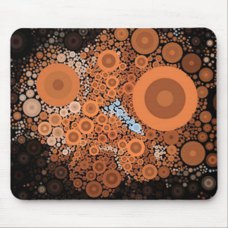 Pop Art Concentric Circles Floral Orange Mousepad