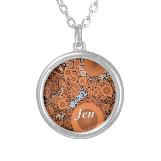 Pop Art Concentric Circles Floral Orange Necklace