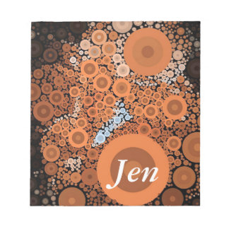 Pop Art Concentric Circles Floral Orange Notepad