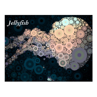Pop Art Concentric Circles Pink Jellyfish Postcard