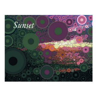 Pop Art Concentric Circles Purple Sunset Postcard