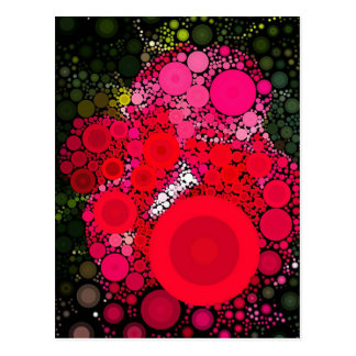 Pop Art Concentric Circles Red Rose Postcard