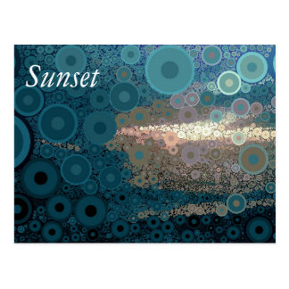 Pop Art Concentric Circles Teal Sunset Postcard