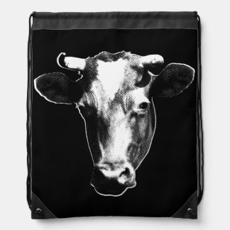 Pop Art Cow Drawstring Bag