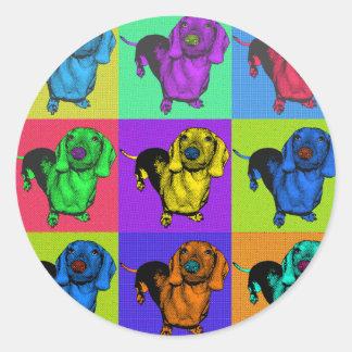 Pop Art Dachshund Panels Classic Round Sticker