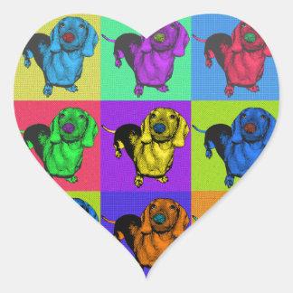 Pop Art Dachshund Panels Heart Sticker