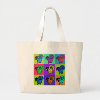 Pop Art Dachshund Panels Large Tote Bag