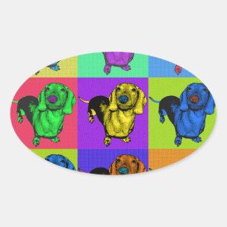 Pop Art Dachshund Panels Oval Sticker