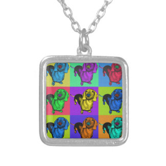 Pop Art Dachshund Panels Silver Plated Necklace