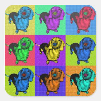Pop Art Dachshund Panels Square Sticker