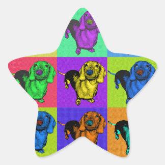 Pop Art Dachshund Panels Star Sticker