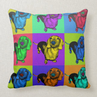 Pop Art Dachshund Panels Throw Pillow