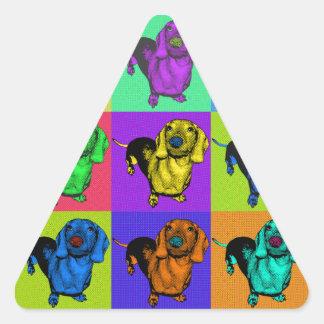 Pop Art Dachshund Panels Triangle Sticker