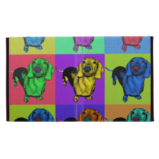 Pop Art Dachsund Doxie Panels Multi-Color Popart iPad Folio Cases