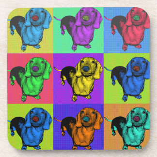 Pop Art Dachsund Doxie Panels Multi-Color Popart Drink Coaster