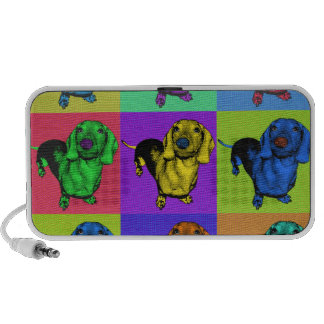 Pop Art Dachsund Doxie Panels Multi-Color Popart Laptop Speakers
