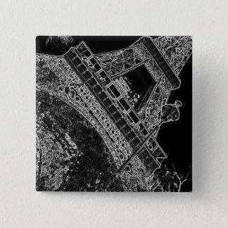 Pop Art Eiffel Tower Paris 2 Inch Square Button