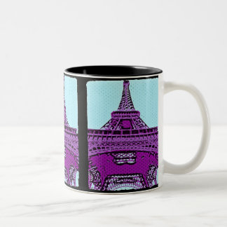 Pop Art Eiffel Tower Two-Tone Coffee Mug