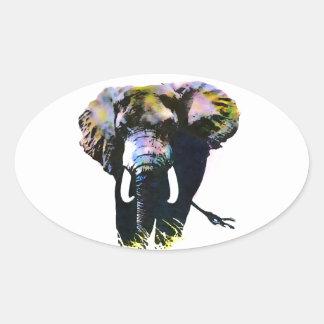 Pop Art Elephant Oval Sticker