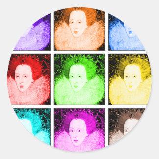 Pop Art Elizabeth I Classic Round Sticker