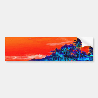 Pop Art Exotic Beach Palm Trees Bumper Sticker