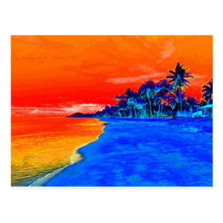 Pop Art Exotic Beach Palm Trees Postcard
