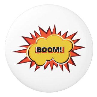 Pop art explosion BOOM typography Ceramic Knob