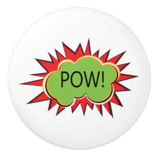 Pop art explosion POW typography Ceramic Knob