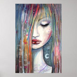 Pop Art Fantasy Woman Asleep Poster
