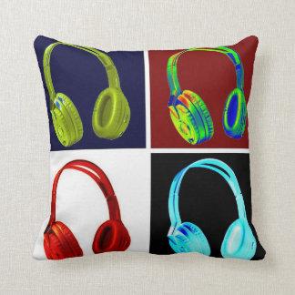 Pop Art Four Colors Head phone Throw Pillow