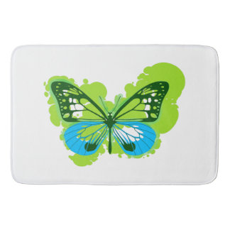 Pop Art Green Butterfly Bath Mat